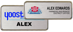 brushed aluminum metal name tags and badges